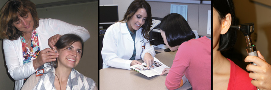 Three images of audiologists working with patients in the clinic