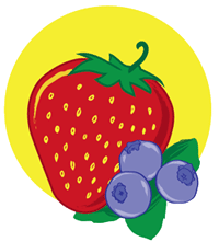 strawberry and blueberry graphic