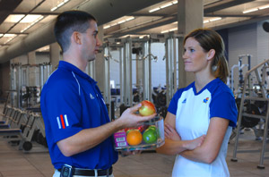 sports nutrition consultation with female athlete
